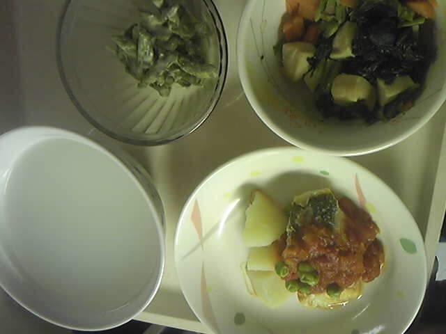 軟食:魚のトマトソース、味噌炒め煮、マヨ和えY 三分粥